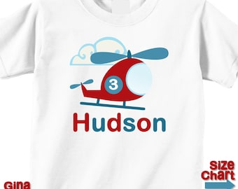 Personalized 3rd Third Birthday Helicopter Red Blue Boy T-shirt or Bodysuit 1st 2nd 3rd 4th 5th 6th 7th 8th Patriotic Helicopter Shirt