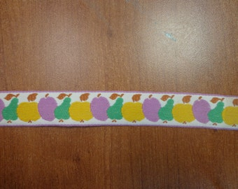 """Vintage (1970s) 1"""" Wide Embroidered Trim, Fruit in Purple, Yellow, Green (1 Yd)"""