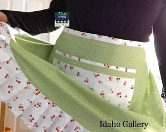 Mothers Day Gift Retro Pinny Tied Half Apron Cherry Apron Cherries Sage Green Tiny Polka Dots Kitchen Apron Ladies Gift Idaho Gallery