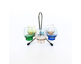 Set of 6 Colorful Vintage Cordials with Brass Stand