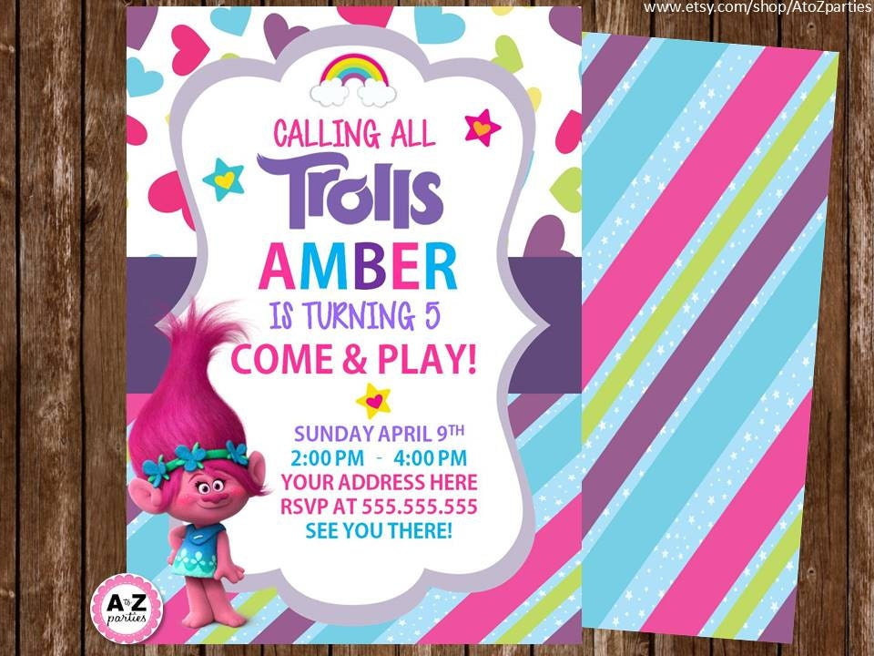This is a photo of Accomplished Trolls Birthday Invitations Printable