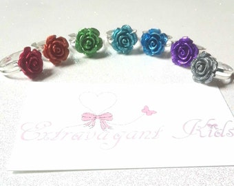 Kids ring, flower ring, adjustable size  gold or silver band, 7 colors red, green, blue, purple, teal, silver, party favor, flower girl ring