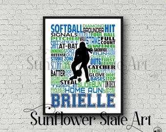Softball Poster Typography, Softball Gift Ideas, Gift For Softball Players, Softball Wall Art, Softball Team Gift, Personalized Softball