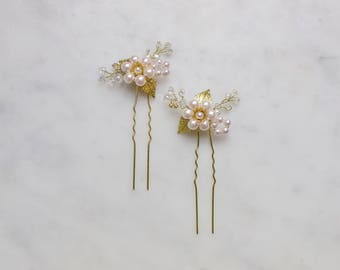 Cherry Blossom Hairpins (Gold and Blush)