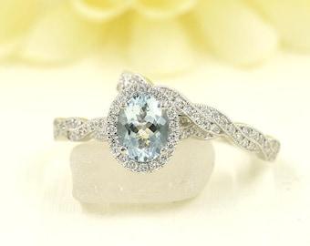 Aquamarine Bridal Set.Diamond Bridal Set.Oval Shaped Aquamarine Engagement Ring.Diamond Engagement Ring.Diamond Wedding Band.Diamond Ring