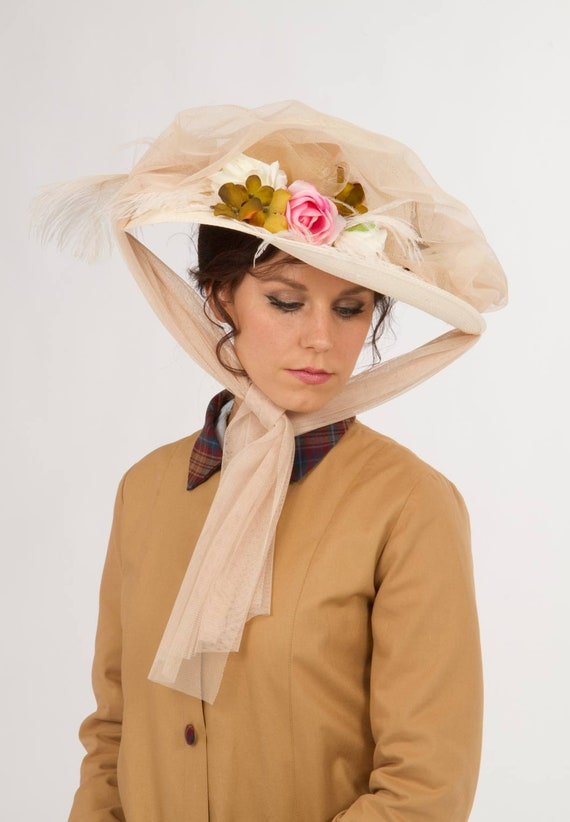 Edwardian Hats, Titanic Hats, Tea Party Hats Edwardian Automobile Hat $68.00 AT vintagedancer.com