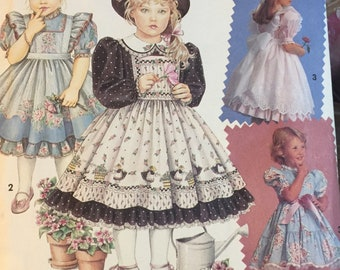 Vintage Girls' Party Dress and Pinafore Sewing Pattern Simplicity 7699 Girls' Size 2-4 Complete UNCUT