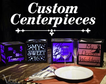 4 Custom centerpieces with LED remote color changing lights. Wedding, Birthday, Baptism, Graduation, Quinceanera, Bar Mitzvah, any party