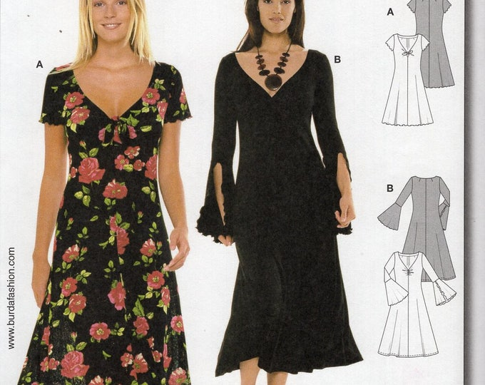 Free Us Ship Burda 8510 Sewing Pattern Size 8/18 Size 8 10 12 14 16 18 Gathered Bust 31 32 34 36 38 40 Uncut Dress Split Trumpet Sleeve