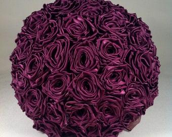 Plum Satin Rose Bridal Bouquet