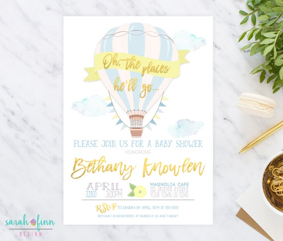 Oh The Places He'll Go Hot Air Balloon Baby Shower Invitation