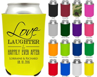 Wedding Favor Can Coolers, To Love Laughter & Happily Ever After, Wedding Personalized Can Coolers, Custom Beer Can Cooler for Weddings (23)