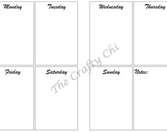 Weekly Boxes Calendar Week on Two Pages PRINTED , Traveler's Notebook / Fauxdori Insert-