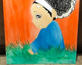 """The Little Girl ; 20""""x20""""; acrylic on canvas"""