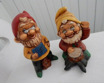 """Garden Pixie Elf Gnome Figurines - Handcrafted Ceramic - Signed and Dated """"CP 1981"""" - Set of Two Figurines"""