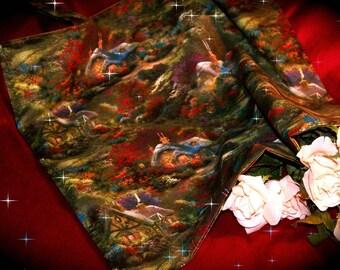 Pure cotton - designer fabric - American theme tote bag style Thomas KINKADE
