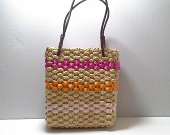 Woven Straw Handbag, Vintage Frankie and Johnny Embroidered Straw Purse, Ribbon Embellished Straw Purse, Woven Straw Bag, Spring Straw Purse