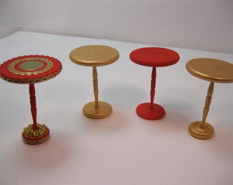 Dolls house 1/12th scale Small round side tables in red or gold