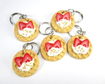 Strawberry waffle knitting stitch marker - set of 5 polymer clay charms, food stitch markers, knitting accessories, knit, gift for knitters