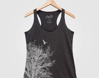 Tree Women Tank Triblend Racerback Tank Top Hand Screen Print