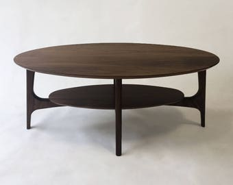 Mid Century Modern Coffee Table With Shelf   Solid Walnut Cocktail Table    MCM