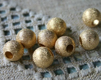 24pcs Metal Bead Gold Plated Stardust Brass Round 12mm