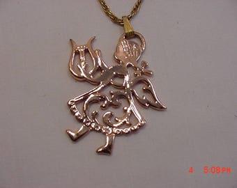Vintage Coppercraft Guild Copper Gems Angel With Harp Pendant Necklace  17 - 765