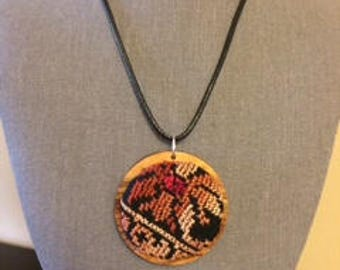Handmade Palestinian Necklace Embroidery With Olive Wood