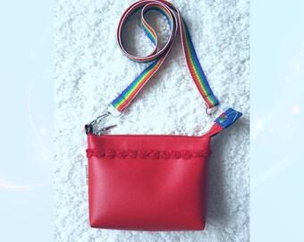 Red messenger bag, handbag, shoulder bag Melanie