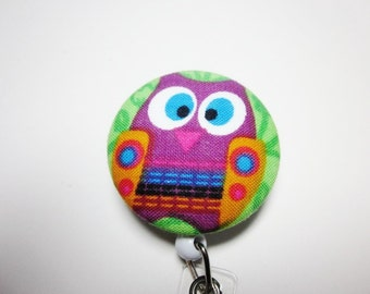 Badge Reel Covered Button in Owl