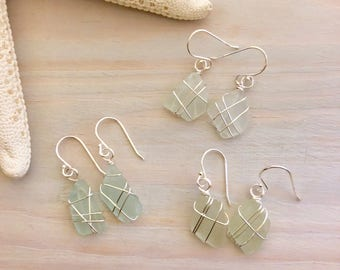 Genuine Sea Glass Earrings - Wire Wrapped Sea Glass - Seafoam Sea Glass - Beach Glass Earrings- Real Sea Glass - Natural Seaglass - Hawaiian