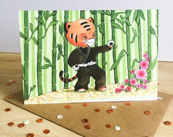 Martial Arts Tiger - greeting card for birthdays, belt promotion and celebrations