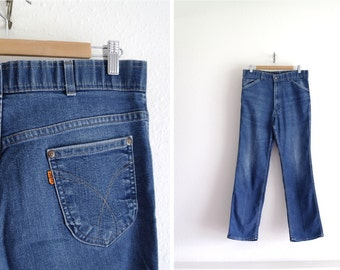 Vintage Levis Jeans – Orange Tab Levis – 1970s Levis Denim Pants – Mens Jeans – Skosh More Room Levis - 33x31