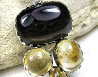 CAB Citrine, Smoky Quartz Gemstone Solid 925 Sterling Silver Handmade Jewelry Charm Pendant