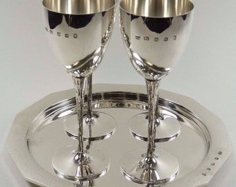 Sterling SILVER -Mid-Century Modern Set of 4 Goblets and Tray - PGJ
