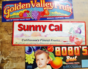 California Fruits Fruit Box Labels, Fruit Box Label, Fruit, Vintage Fruit Label, Fruit Crate, Vintage Labels, Fruit Box, Fruit Label