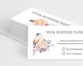 Floral business cards - Flower business cards - Watercolor business cards - Printable business cards - floral wedding planner business cards