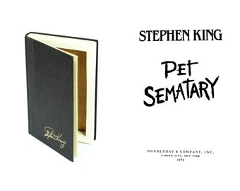 Hollow Book Pet Sematary by Stephen King Handmade Secret Stash Box Booksafe Storage Black Gold Gift Friend Brother Sister - CUSTOM ORDER
