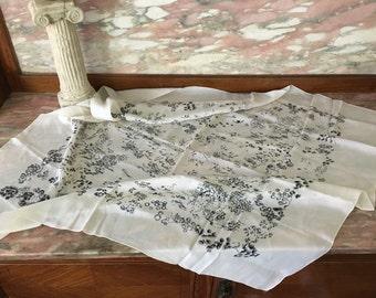 "Fine Silk Scarf Asian Landscape in Black on White Large 34"" 1960s"