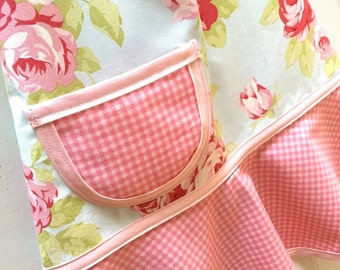 Pink Shabby Chic Girl's Apron, Kids Apron, Little Girls Child's Apron, Easter Gift, Toddler Apron  -  SHABBY CHIC FLORAL