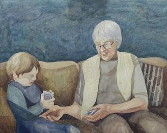 Custom Watercolor Portrait: Grandparents or Family