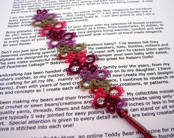 Tatted Lace Bookmark - Tatted Bookmark - Your Color Choice - Made To Order