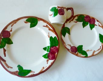 Franciscan Apple Chop Plate, Salad Plate and Cup 3 Pcs