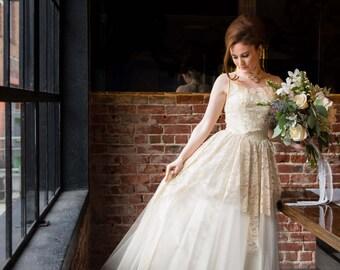 1950's tea stain color vintage lace bridal wedding gown SALE