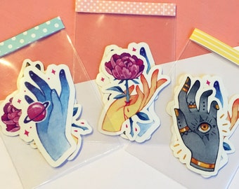 Hand themed stickers, pack of 3