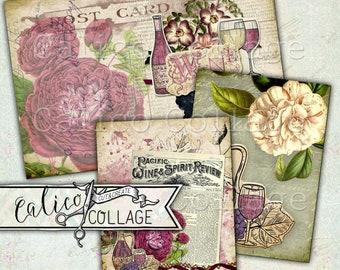 Imprimables, cartes postales, Digital, taches de journalisation, Junk Journal, Pack d'éphémères, éphémères de vin, pour l'amour du vin, Scrapbooking, Mixed Media