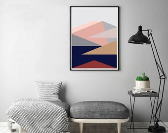 Roy's Peak View Wanaka, New Zealand Modern Abstract Landscape Art Print. Mountains and Lake