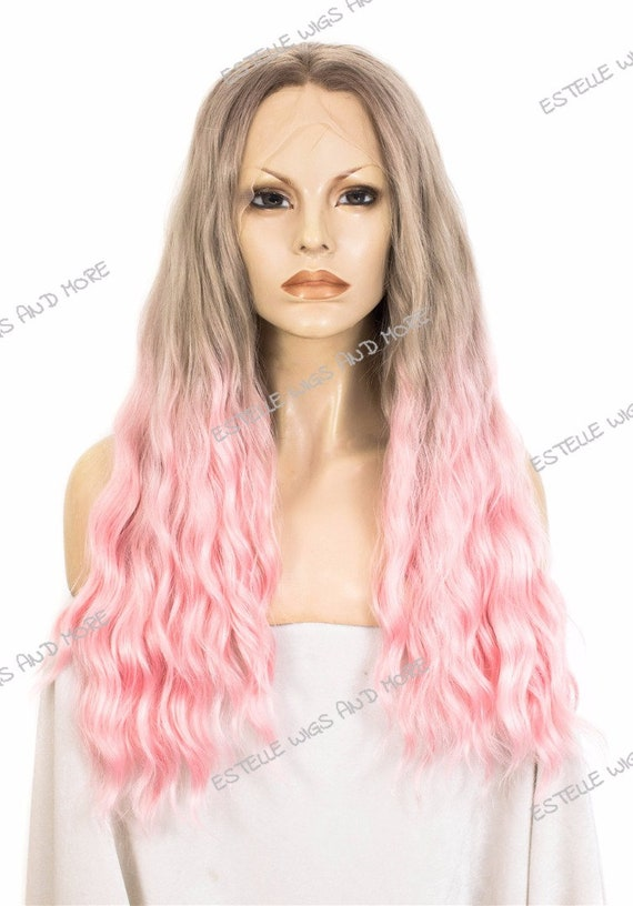2 Tone Ombre  Ash Brown/Blonde And Pink Long Wavy Deep Centre Part Premium Synthetic Fiber Soft Swiss Glueless Lacefront Wig by Etsy