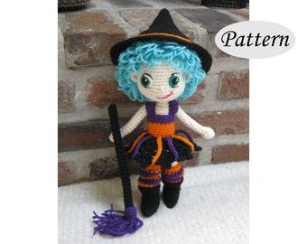 WITCH - Amigurumi Pattern Crochet Doll Pattern - Tutorial - PDF - Plush Doll Girl