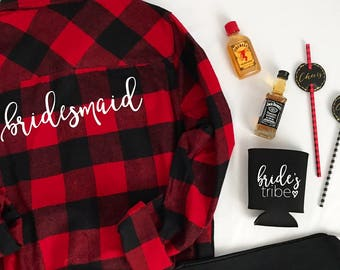 SHIPS IN 3-4 DAYS! Bridesmaid Flannel | Bride Flannel | Flannel Bridesmaid Shirts | Bride Shirt |Bachelorette Shirts | Bridal Party Shirts